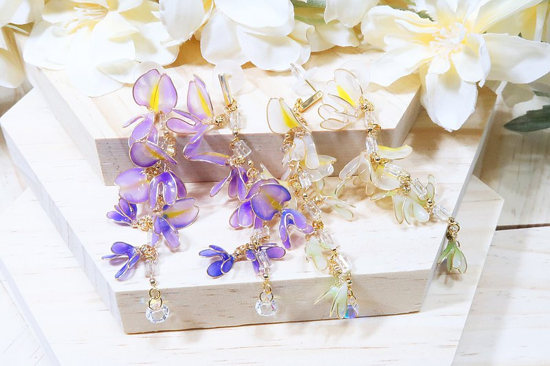 Miss Paranoid Miss Paranoid Wisteria Flower String Resin Earrings 925 Silver Post