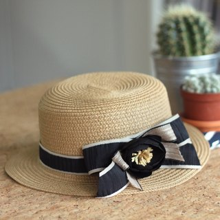 Ribbon & Silk Flower-Embellished Straw Boater Hat