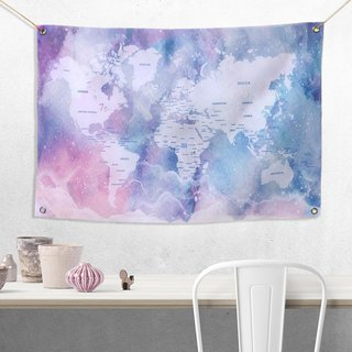 Custom World Map Watercolor Stars