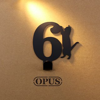 [OPUS Dongqi Metalworking] When the cat meets the number 6 - hook (black) / wall hanging hook / storage without trace