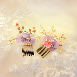 Wear a happy decoration Jiao Ruohuahua series - the bride comb. French comb. Wedding buffet - Purple combination