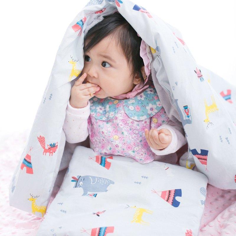 Minky加厚夾層棉毯枕套裝 點點顆粒 攜帶毯嬰兒毯 灰色-帳篷