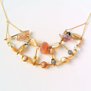 Pink. Sun stone curved half-gem necklace