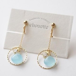 【14kgf】 Quartzite Zirconia Earrings Sky Blue