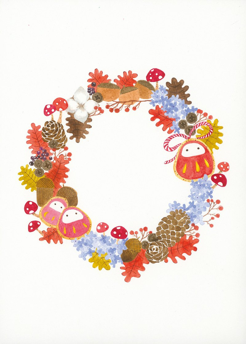 Blessing wreath postcard