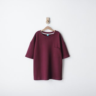 Thick version of the loose shoulder version of the cotton plain face red pocket Tee - size Qi