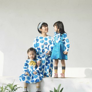 Blue ink dot print parent-child wear mother dress mother baby shirt dress cotton loose comfortable