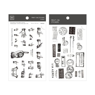 [Print-On Stickers] | Retro Series 18 - Black and White Replica | Pocket, DIY Friends
