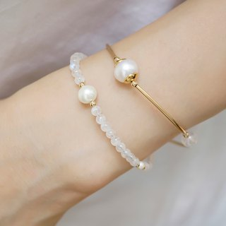June birthday lucky stone bracelet VISHI time natural blue moonstone freshwater pearl 14k gold simple