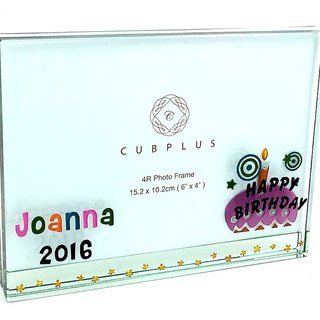 4R Crystal Glass Photo Frame - Birthday Cake  including engraved names & date