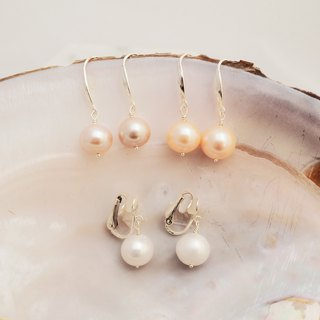 Draped large pearl freshwater pearl earrings ear clip
