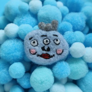 Three eyes blue ugly like wool felt brooch
