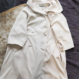 Nagano beige white lapel simple girl antique thin material windbreaker jacket trenchcoat dustcoat
