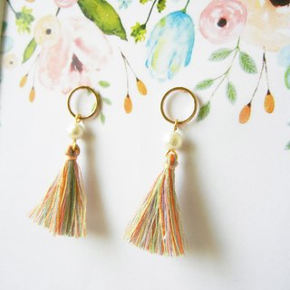 *coucoubird*pearl color fringe earrings/ear pin 4 shapes to choose from