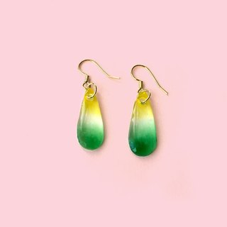 Yellow-green water drops - hand-painted drape earrings (can change the clip)