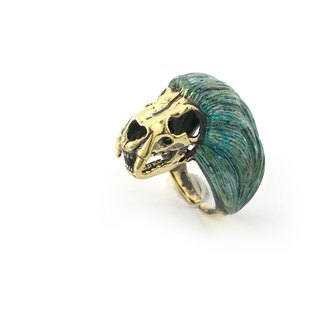 Zodiac Lion skull ring is for Leo in Brass and Patina color antique color ,Rocker jewelry ,Skull jewelry,Biker jewelry