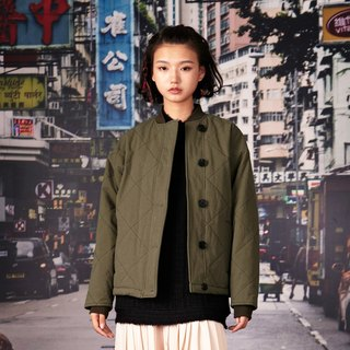 kitann ino Army Green Ribbed Long Sleeve Cropped Jacket
