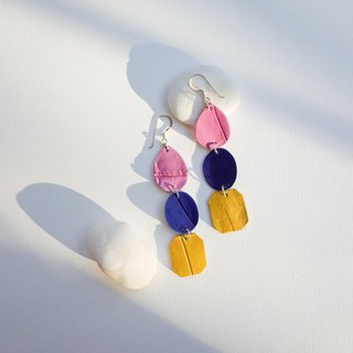 Genuine crocodile leather earring in multicolor with tassel (Sterling silver)