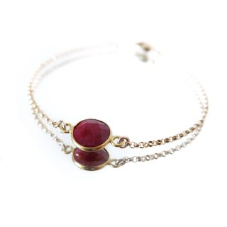 14KGF/ SMOKY QUARTZ RUBY ASYMMETRY BRACELET