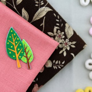 Fresh forest tree self-adhesive embroidered cloth stickers - Forest Series