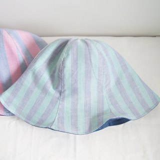 Purple and Green Stripe - Handmade Bucket Hat | Double sided