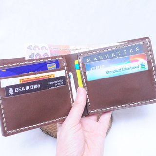 【6 card bit short clip - dark brown | RUSSEL】 good seam leather material bag free engraved hand bag couple wallet wallet short silver package short money simple and practical Italian leather tanned leather leather DIY companion slim leather primary color b