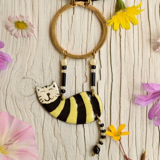 Enamel Necklace, Ring Necklace, Circus, Aerialist, Yellow Black, Black Cat,