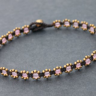 Beaded Anklet, Rose Quartz Pink Stone Woven Brass Anklets Flower Anklets