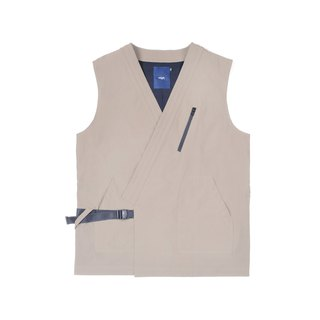 oqLiq - AdHeRe - Very flat open vest (light khaki)