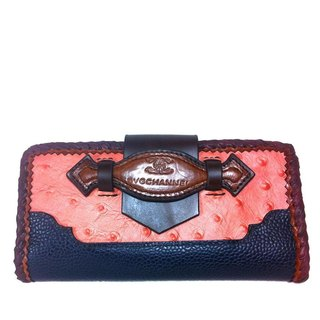 Embossed Ostrich French Flap Wallet