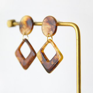 Retro Square Amber - Drop Earrings Earrings (pair) [Changeable Ear Clips]