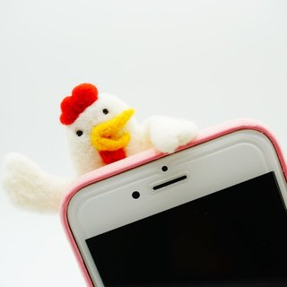 Needle Felting Chicken Phone Case Wool Felt SAY HELLO White Chicken Phone Cover