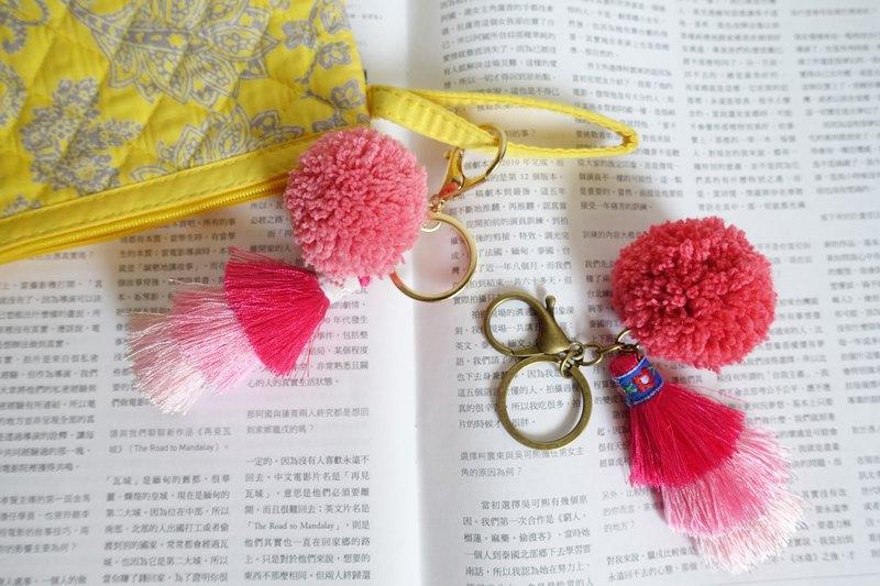 乾燥野莓心情毛球流酥鑰匙圈/包包吊掛飾