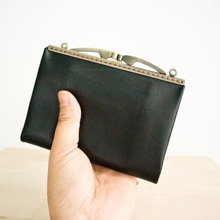 Leather Kisslock Clutch, Wallet, Frame Purse, Long Wallet/ black