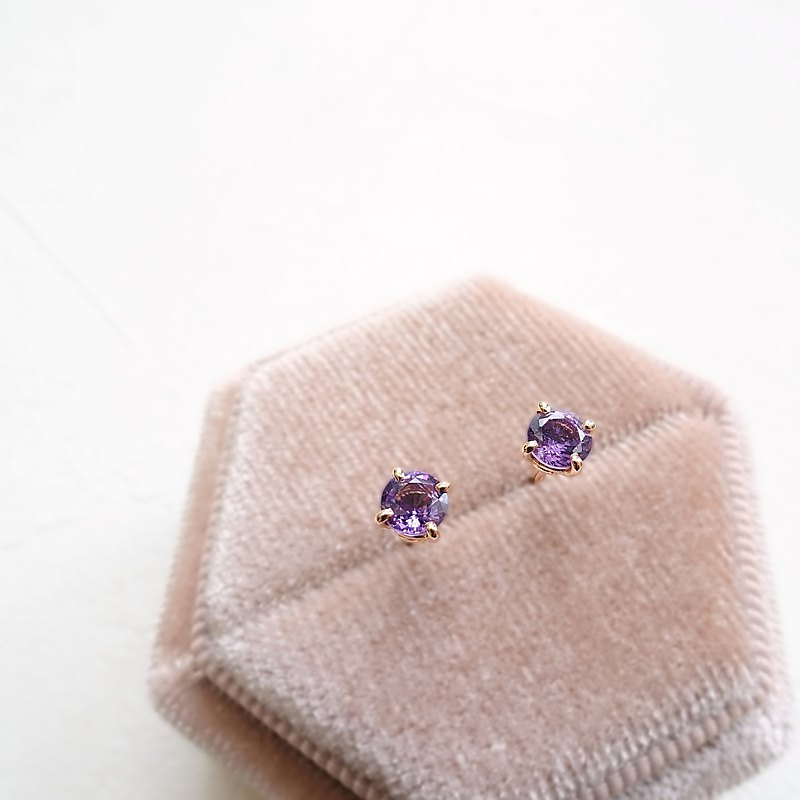 Natural Purple Sapphire Round Brilliant Cut 18K Solid Rose Gold Stud Earrings