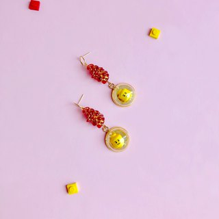 Cute  silver red Emoji LEGO Earring