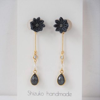 E100【Shimmer elegant】Charcoal dripping long-duty custom earrings ear clip S925 14KGF