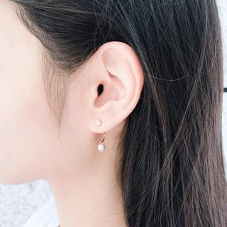 Under the ear love 18K gold zircon pearl earrings can be changed