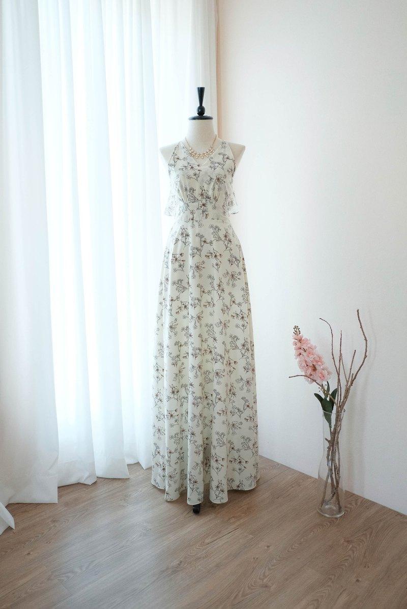 白色碎花連衣裙Summer Maxi Long伴娘禮服雞尾酒舞會禮服