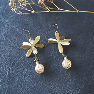 3d flower earrings with yellow ice quartz (brass hand made)