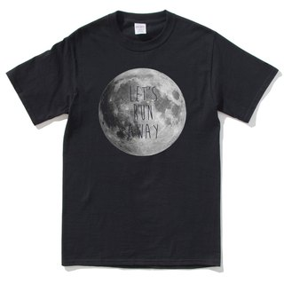 LET'S RUN AWAY Moon Short Sleeve T-Shirt Black Moon Outer Space Galaxy Milky Way Earth Planet Astrophotography Aurora Astro-Sun Planet Planet