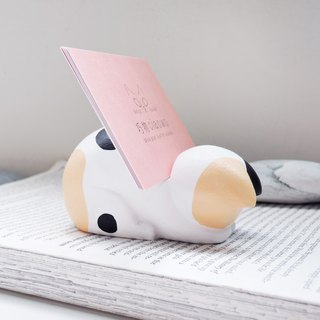 So shy three-color small cat mobile phone holder business card holder pen holder ornaments handmade wooden healing small wood carving