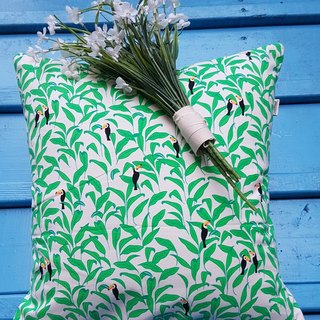Features lovely fresh Nordic Woodpecker leaves pattern pillow / cushion