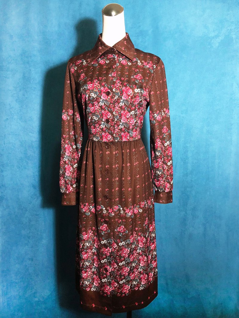 Crimson flowers vintage dress / abroad brought back VINTAGE
