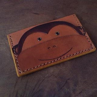 Cute Q monkey vintage yellow pure leather business card holder (Valentine, birthday gifts)