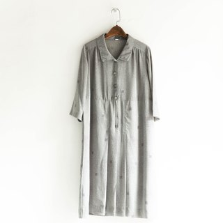 River water - Chiba gray green quiet menson girl antique dress silk dress overalls oversize vintage dress