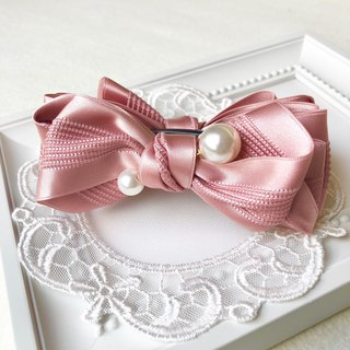 Elegant satin bow tie clip (banana clip) / Korean powder