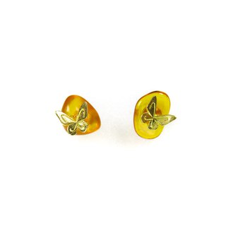 READ Dazzling Clearing Wishes | Amber 18K Gold Butterfly 925 Sterling Silver Ears