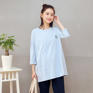 Embroidered long top (blue)
