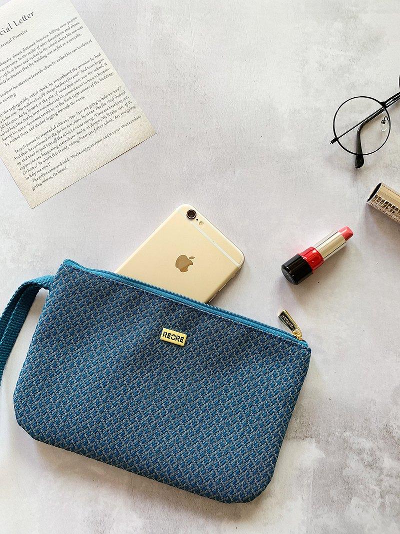 口罩收納包 護照夾 /  防潑水 平織緹花 小編織湖水藍